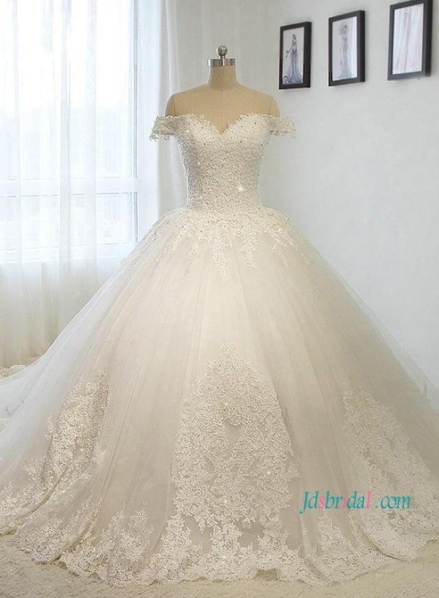 wedding photo - Fairytale off the shoulder princess tulle ball gown wedding dress