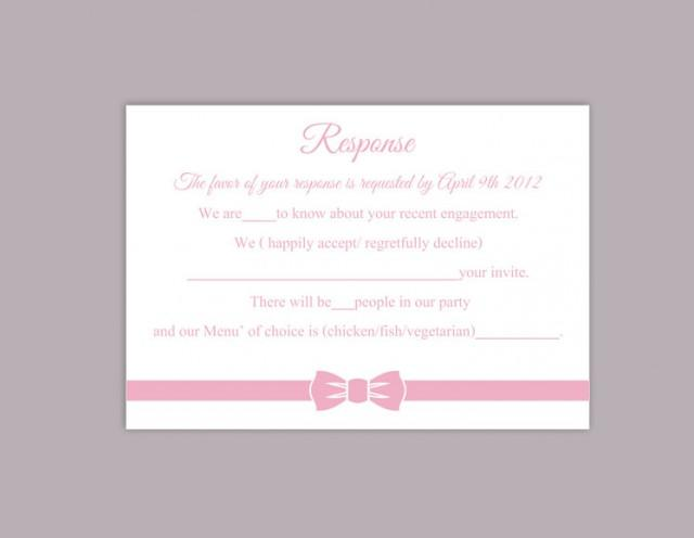 wedding photo - DIY Wedding RSVP Template Editable Word File Instant Download Rsvp Template Printable RSVP Cards Pink Bow Rsvp Card Elegant Rsvp Card - $6.90 USD