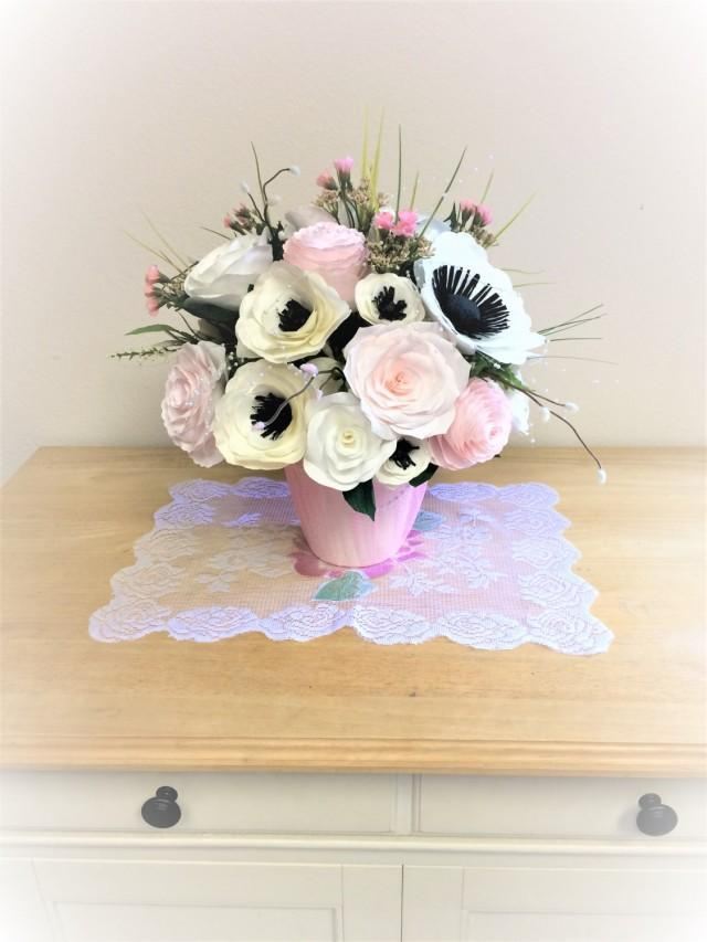 wedding photo - Floral centerpiece filled with handcrafted paper peonies, roses and anemones - $89.99 USD
