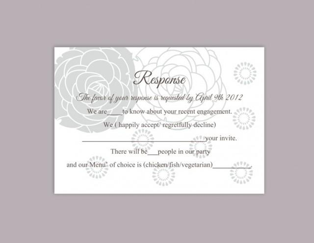 wedding photo - DIY Wedding RSVP Template Editable Word File Instant Download Rsvp Template Printable RSVP Cards Floral Gray Silver Rsvp Card Rose Rsvp Card - $6.90 USD