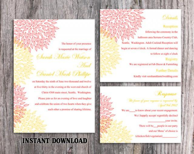 wedding photo - Wedding Invitation Template Download Printable Wedding Invitation Editable Invitation Pink Invitations Colorful Invite Yellow Invitation DIY - $15.90 USD