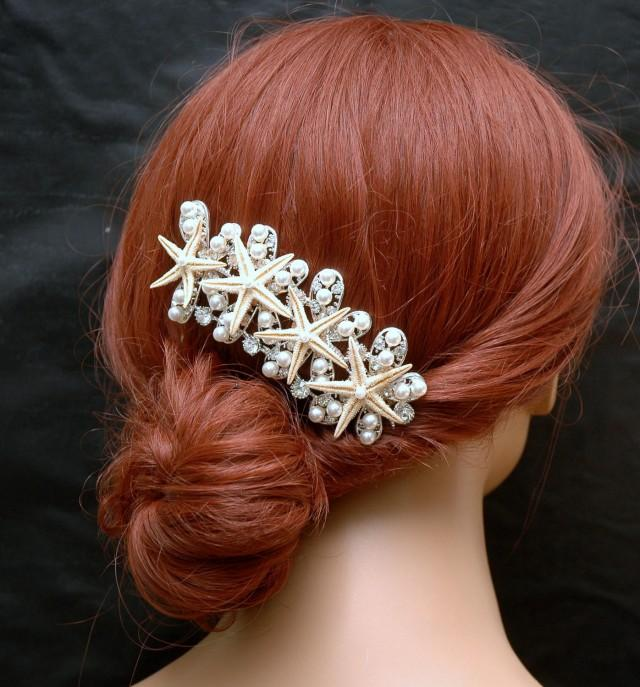 wedding photo - Starfish Wedding Hair Comb, Beach Wedding Headpiece, Crystal Bridal Hair Comb, Pearl Hair Comb, Bohemian Beach Headpiece, Star Hair Comb - $42.00 USD