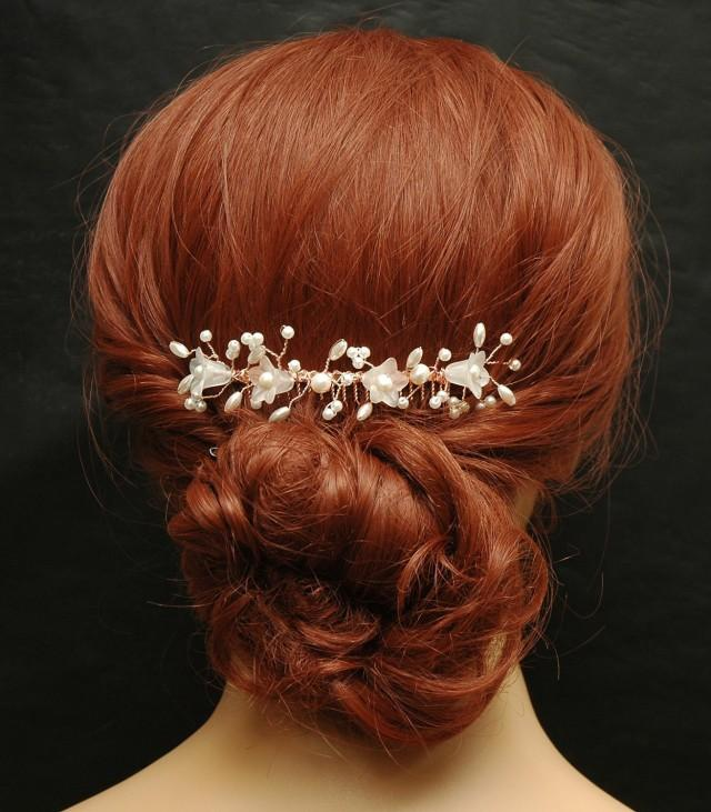 wedding photo - Bridal Hair Comb Wedding Hair Vine Rose Gold Hair Com Pearls Beach Wedding Hair Comb Bridal Leaf Hair Comb Flower Hair Piece One of a Kind - $42.00 USD