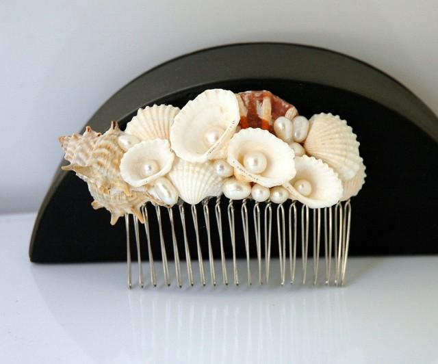 wedding photo - Shell Hair Comb Beach Wedding Hair Accessories Freshwater Pearls Comb Beach Wedding Headpiece Boho Wedding Mermaid Nautical Beach Hair Comb - $35.00 USD