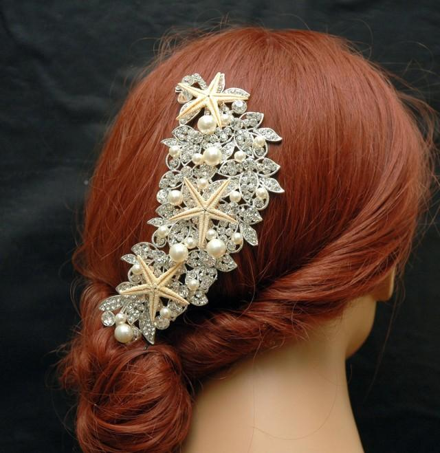 wedding photo - Beach Wedding Hair Comb Starfish Pearl Bridal Comb Nautical Hair Accessories Shell Headpiece Mermaid Headpiece Bohemian Wedding Hair - $57.00 USD