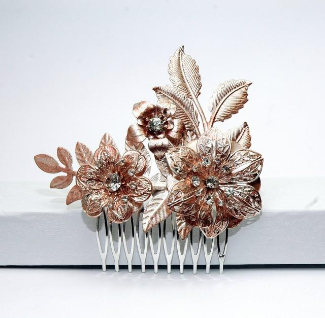wedding photo - Rose Gold Flower Hair Comb, Bridal Hair Comb, Silver Wedding Comb, Crystal Floral Headpiece, Gold Hair Comb, Hair Accessories - $29.00 USD
