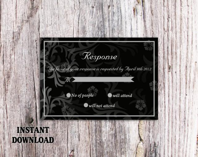 wedding photo - DIY Wedding RSVP Template Editable Text Word File Download Rsvp Template Printable RSVP Cards Black Rsvp Card Template Elegant Rsvp Card - $6.90 USD