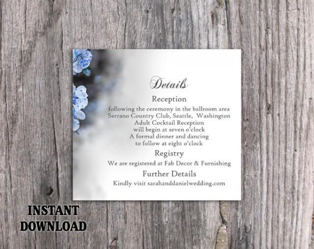 wedding photo - DIY Wedding Details Card Template Download Printable Wedding Editable Blue Details Card Floral Boho Information Cards Elegant Party Cards - $7.90 USD