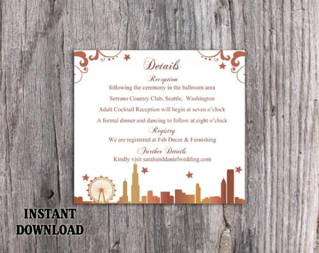 wedding photo - DIY Wedding Details Card Template Download Printable Wedding Chicago Skyline Details Card Editable Gold Details Card Elegant Enclosure Card - $6.90 USD