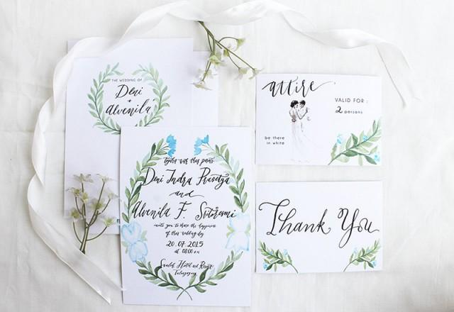 Watercolor Botanical Wedding Invitation Calligraphy