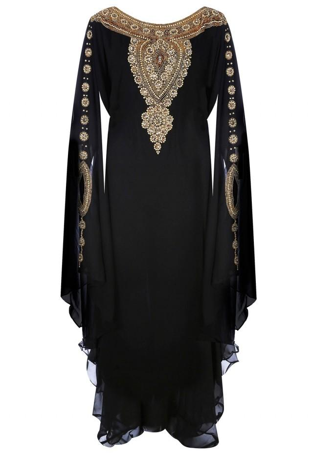 wedding photo - Jywal Embroidered Kaftan Dress in Black and Gold