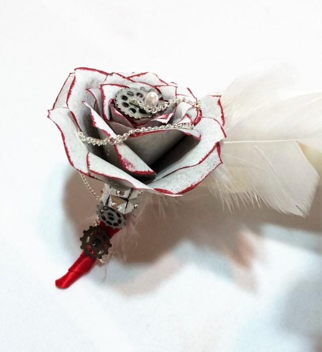 wedding photo - Silver and red boutonniere, Steampunk boutonniere, Rockabilly Men's lapel flower, Men's buttonhole flower, Prom boutonniere, Mom corsage - $14.50 USD