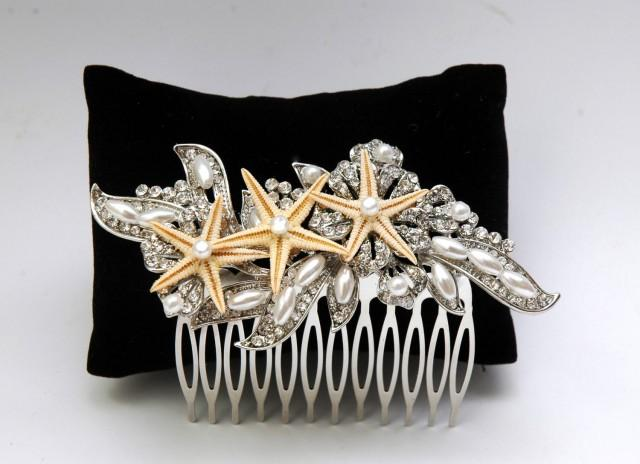 wedding photo - Starfish Hair Comb, Beach Wedding Headpiece, Crystal Bridal Hair Comb, Pearl Hair Comb, Bohemian Beach Headpiece, Beach Accessories - $30.00 USD