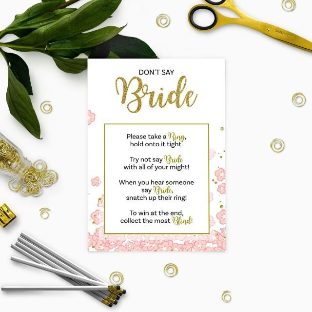 wedding photo - Gold and Pink Dont Say Bride Game-Glitter Floral DIY Printable-Personalized Bridal Shower Games-Bridal Shower Ring Game-Take a Ring Game - $3.50 USD