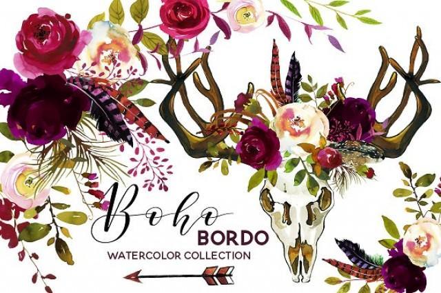 wedding photo - Boho Burgundy Watercolor Flowers