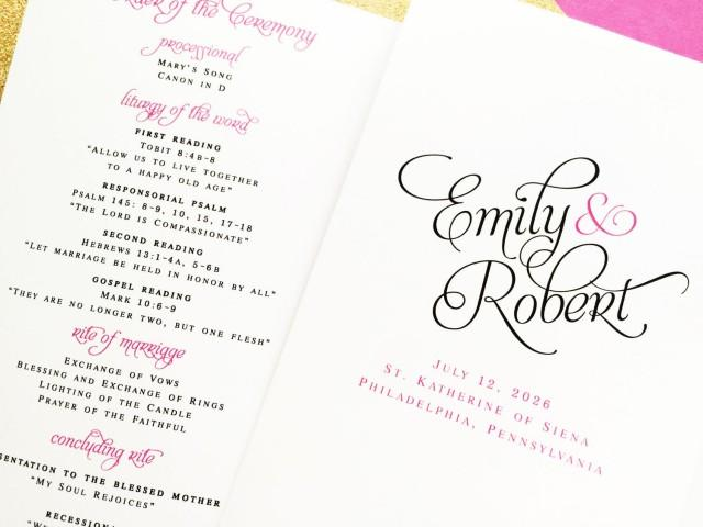 Wedding Programs, Bifold Folded Wedding Programs, Wedding Order Of ...