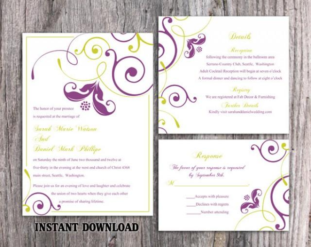 wedding photo - Wedding Invitation Template Download Printable Invitation Editable Purple Invitation Green Invitation Elegant Floral Invitation Invite DIY - $15.90 USD