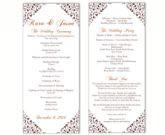 wedding photo - Wedding Program Template DIY Editable Word File Instant Download Program Brown Program Floral Program Printable Wedding Program 4 x 9.25 - $8.00 USD
