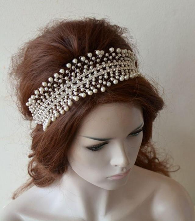 wedding photo - Wedding Headband, Bridal Hair Accessories, Pearl Headband, Pearl Headpiece, Bridal Headpiece, Wedding Hair Jewelry - $87.00 USD