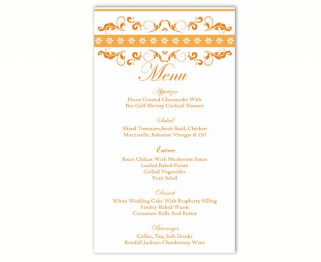 wedding photo - Wedding Menu Template DIY Menu Card Template Editable Text Word File Instant Download Orange Menu Template Gold Menu Printable Menu 4x7inch - $6.90 USD