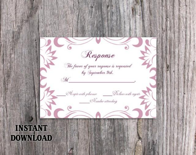 wedding photo - DIY Wedding RSVP Template Editable Word File Download Rsvp Template Printable Purple RSVP Card Lavender Rsvp Card Template Elegant Rsvp Card - $6.90 USD