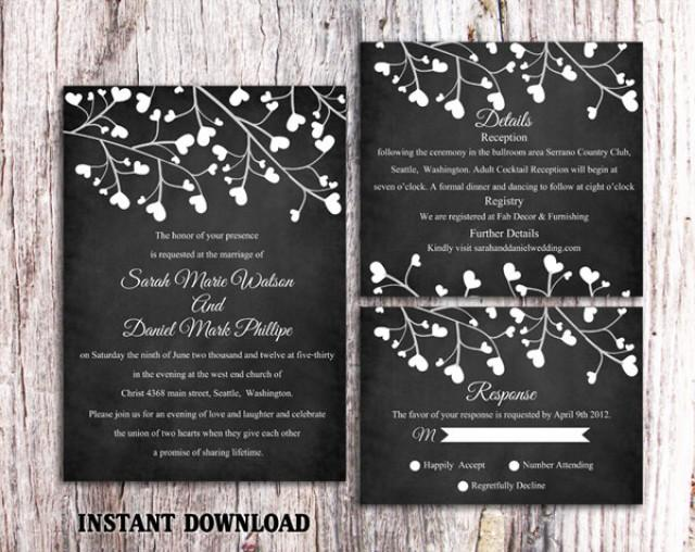 wedding photo - Wedding Invitation Template Download Printable Invitations Editable Chalkboard Wedding Invitation Black & White Heart Invitation Invites DIY - $18.90 USD