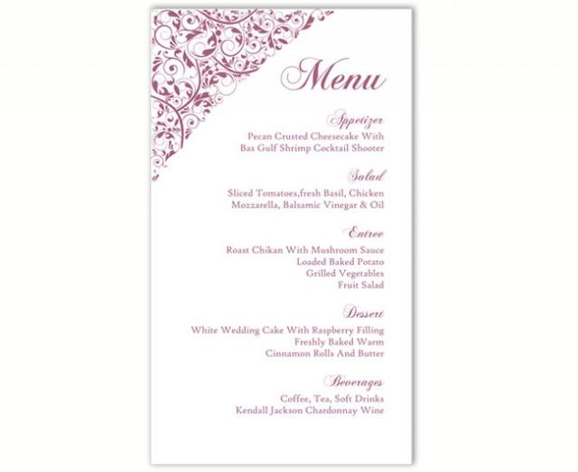 wedding photo - Wedding Menu Template DIY Menu Card Template Editable Text Word File Instant Download Eggplant Menu Card Floral Menu Printable Menu 4x7inch - $6.90 USD