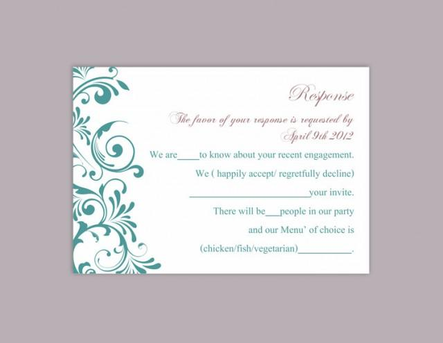 wedding photo - DIY Wedding RSVP Template Editable Word File Download Rsvp Template Printable RSVP Card Turquoise Teal Blue Rsvp Card Elegant Rsvp Card - $6.90 USD