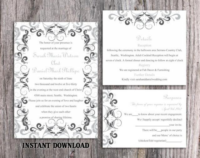 wedding photo - Wedding Invitation Template Download Printable Wedding Invitation Editable Invitation Silver Gray Invitation Elegant Black Invitations DIY - $15.90 USD