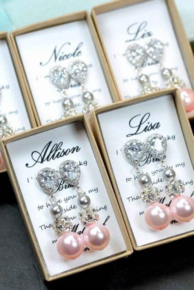 Blush pink light pink bridesmaids jewelry set wedding for Pink wedding jewelry sets