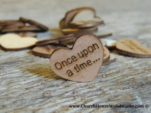 wedding photo - Once upon a time... Wood Hearts- Wood Burned 100 count