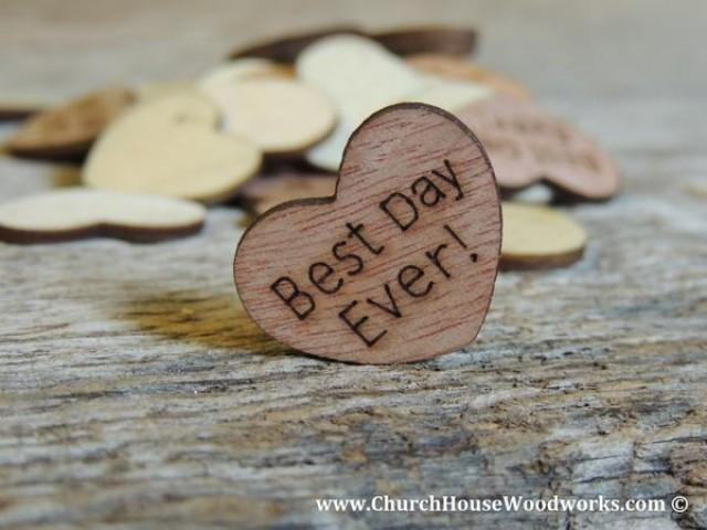 wedding photo - Best Day Ever! Wood Hearts- Wood Burned 100 count