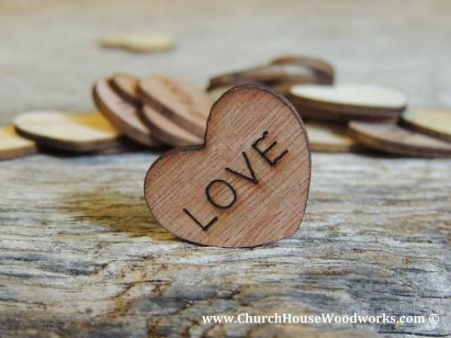 wedding photo - LOVE Wood Hearts- Wood Burned 100 count