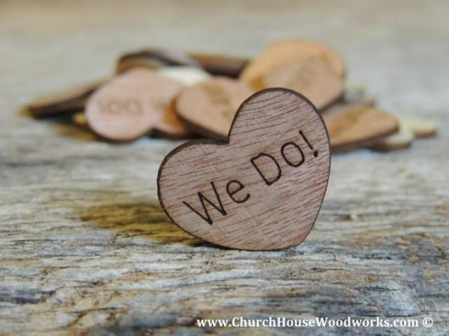 wedding photo - We Do! Wood Hearts- Wood Burned 100 count