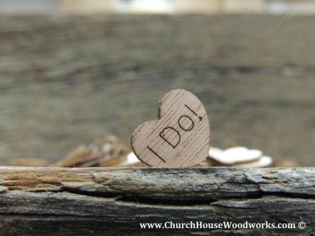 wedding photo - I Do! Wood Hearts- Wood Burned- Pack of 100