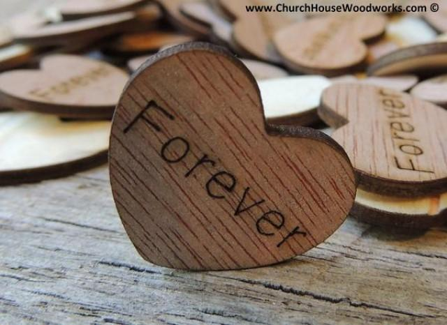 wedding photo - Forever Wood Hearts- Wood Burned 100 count