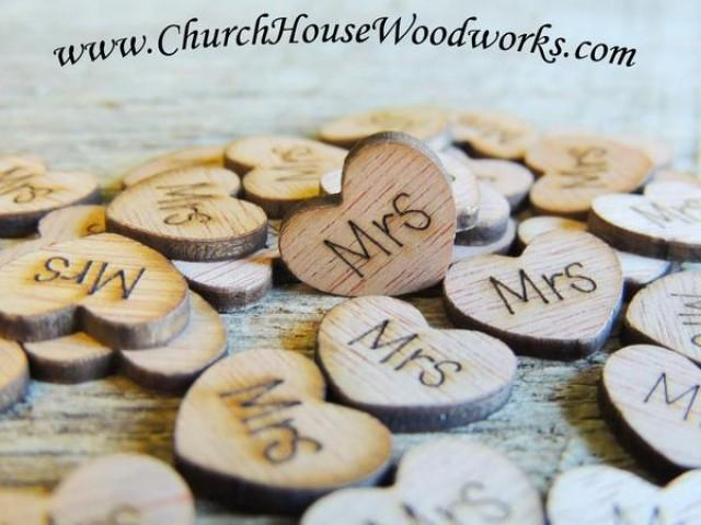 wedding photo - Mrs Wood Hearts- Wood Burned- Pack of 100