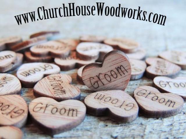 wedding photo - Groom Wood Hearts- Wood Burned- Pack of 100