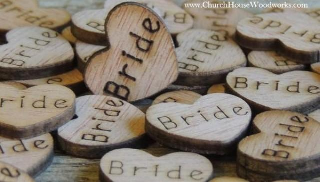wedding photo - Bride Wood Hearts- Wood Burned- Pack of 100
