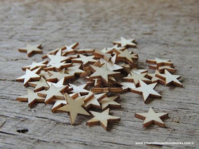 wedding photo - 50 Mini Wood Stars Very Small 1/2 inch size