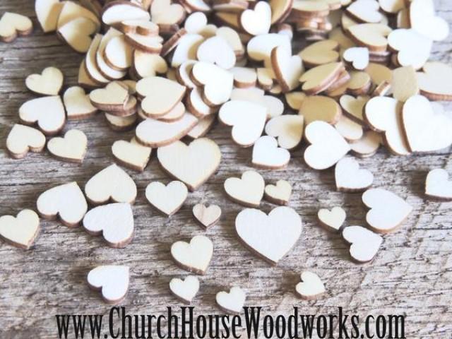 wedding photo - 50 Tiny Mini Wood Hearts