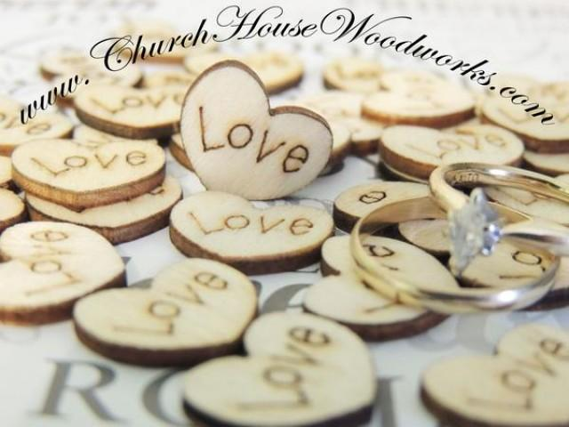 wedding photo - Wood Burned Love Hearts- Pack of 100