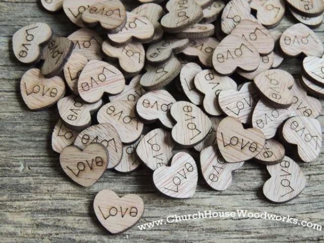 wedding photo - Wood Love Hearts