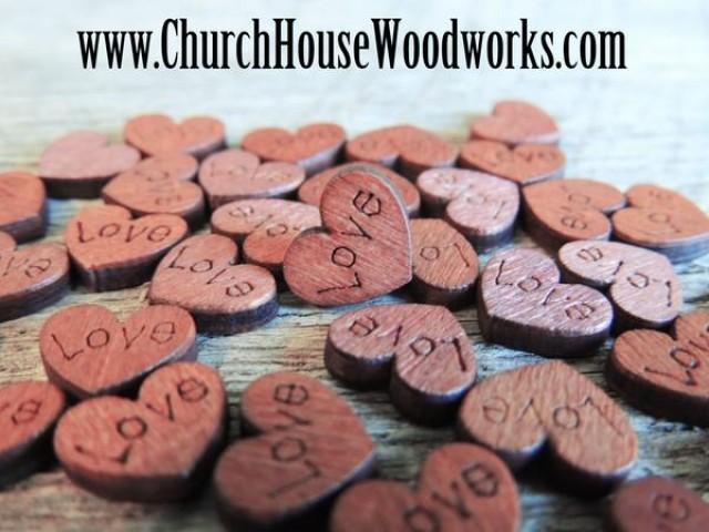 wedding photo - 100 Mini Love Wood Hearts