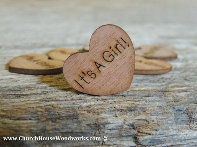 wedding photo - It's A Girl! Wood Hearts- Wood Burned 100 count