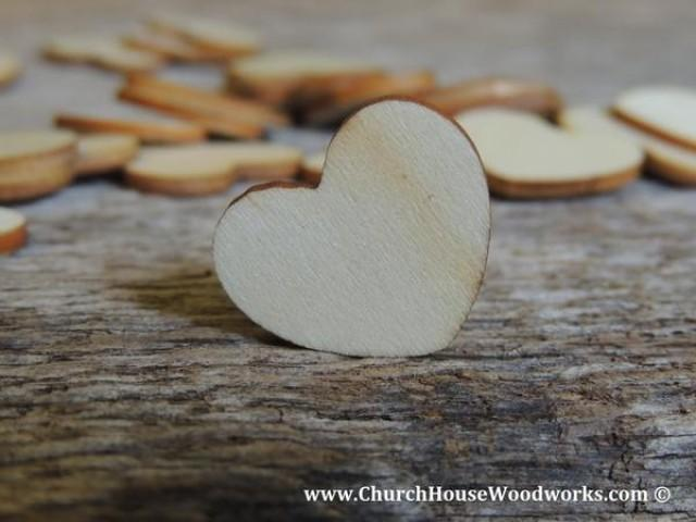 "wedding photo - Blank 1"" Wood Hearts- Wood Burned 100 count"