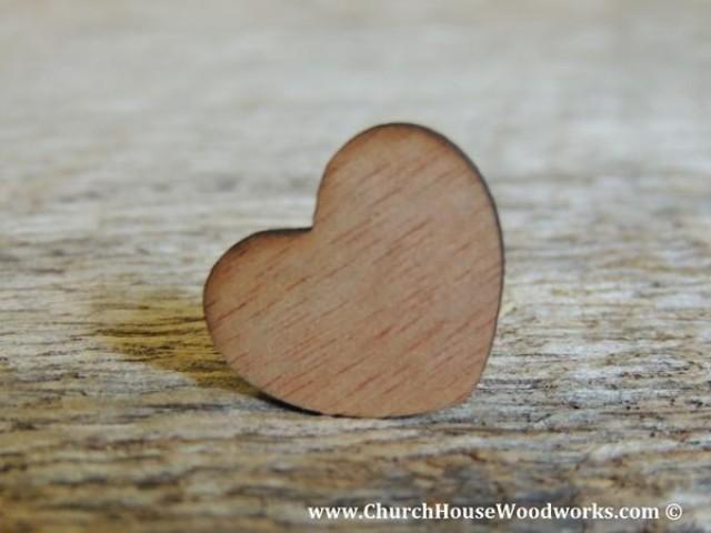 """wedding photo - Blank 1"""" Wood Hearts Dark- Wood Burned 100 count"""