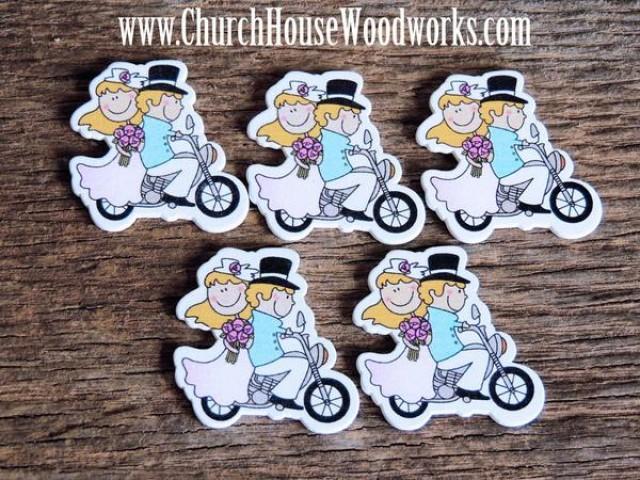 wedding photo - Bride Groom On Motorcycle Wood- Pack of 5-DIY Crafts