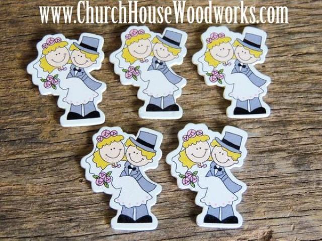 wedding photo - Bride Groom Wood Table Scatter- Pack of 5- DIY Crafts