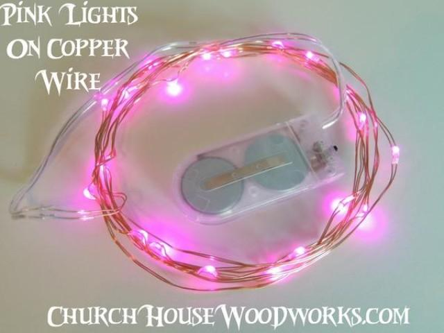 wedding photo - Pink Battery Fairy Lights - LED Battery Operated Rustic Wedding Lights